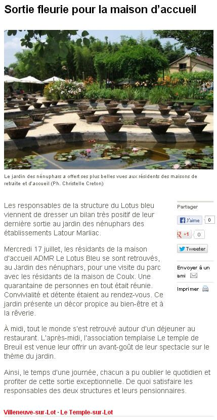 Le temple sur lot revue de presse - Jardin des nenuphars le temple sur lot ...